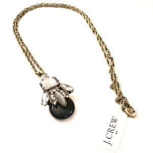 J.Crew Black Teardrop Crystal Fan Pendant Necklace